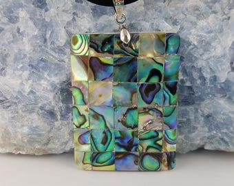 Abalone Mosaic Pendant Necklace - Rectangle - Multi colors