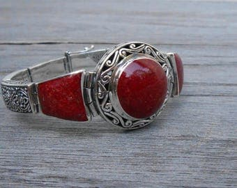 Bali solid sterling Silver red coral  bracelet / silver 925 / Balinese jewelry work / (#792m)