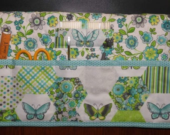 Quilted Sewing Machine Pad, Organizer, Caddy, Turquoise and Green, Floral with Butterflies