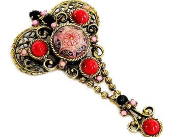 Juliana aka DeLizza and Elster Red, Pink and Black Moroccan Brooch Pendant