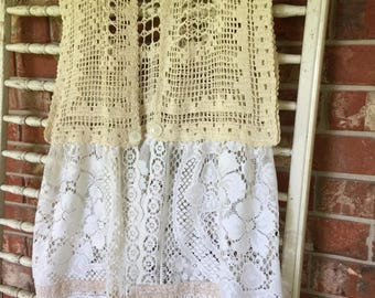 Recycled, repurposed, crocheted, lace, shabby chic vest, romantic, cottage chic, cream colored