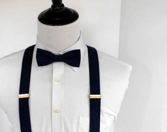 SALE Navy Bowtie and Suspenders Set - Men, Teen, Youth                                  2 weeks before shipping