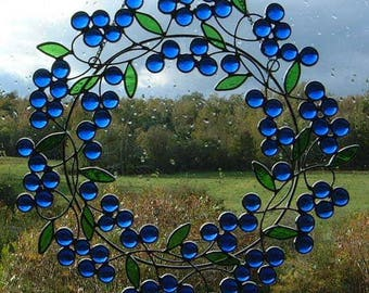 Stained Glass Berry Wreath Sun Catcher
