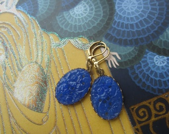 Vintage Blue Glass Floral Oval Earrings
