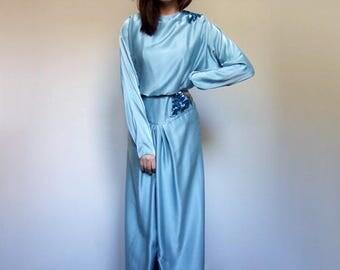 70s Party Dress Evening Gown 1970s Cocktail Dress Long Sleeve Maxi Dress Long Sequin Dress Vintage Blue Maxi - Medium to Large M L