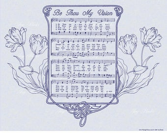 BE THOU My VISION - Antique Hymn Wall Art Print Sheet Music Wall Art Vintage Verses Slate Blue Parchment Midnight Blue Ink Special Size Sale