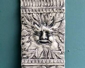 Greenman Pottery Relief Sculpture Tile