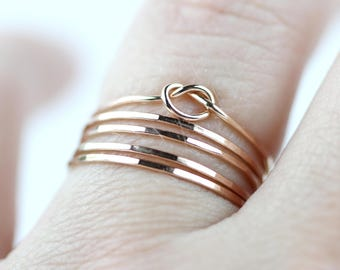 Set of 5 - Knot Ring Stacking Set - Ultra Skinny, Rose Gold knot ring , tread thin ring, super delecite ring, knot ring, love knot
