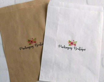 "35 Flat Merchandise Bags - 8.5"" x 11.5"" - custom designed and printed - brown kraft or white - logo paper bags"