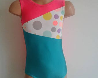SALE!!! 20% OFF! Size 3T Ready to Ship. Gymnastics Dance Leotard  Jade Coral with Circus Dots Insert.