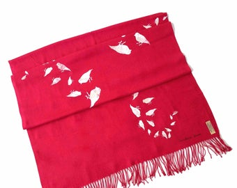 Red Pashmina/ Red shawl/ Red wrap/ Red scarf/ Bird Design/ Bird pattern/ Birds/ Bird print scarf/ Bird shawl