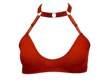 Sandra choker bikini swimsuit top  -  strappy red  -  by Kayleigh Peddie