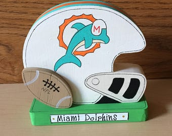 Miami Dolphin football helmet handmade from 3/4 inch wood, weighs 2.5 oz, 4 x 4, unique