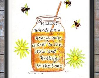 Honeycomb, honeybees, scripture design print
