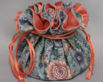 Jewelry Travel Tote---Drawstring Organizer Pouch--- Butterfly Floral Design---Eight Pockets---Medium Size