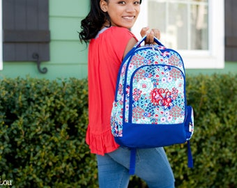 Monogrammed Garden Party Backpack Trimmed in Royal Blue; Back to School; Great for Girls