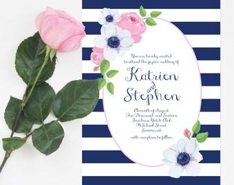 nautical floral invitation set - custom printable - anemone and rose wedding invite, navy blue and pink, striped stripe flowers, preppy posy