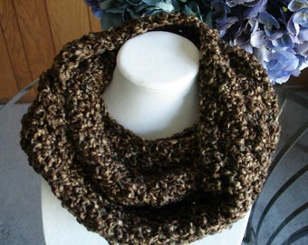 Brown Cowl Scarf, Infinity Scarf, Crocheted Scarf, Winter Scarf
