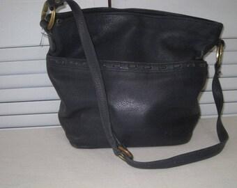 vintage Portofino Navy Pebble Grained Leather Tote Bag