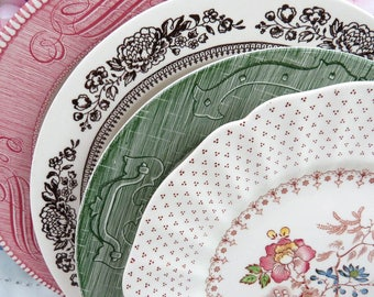 """Set of 4 Mismatched Ironstone Transferware China 10"""" Dinner Plates, Mix and Match, Colorful, Vintage Wedding or Tea Party Wall Decor, DP88"""