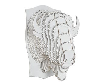 Billy Cardboard Bison - Giant - White