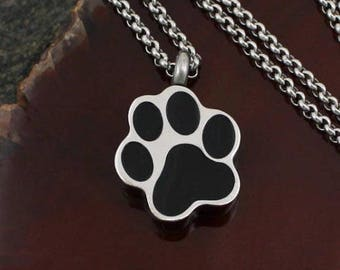 Paw Print Urn Necklace   Pet Memorial Remembrance Necklace    Cremation Urn Charm Jewelry
