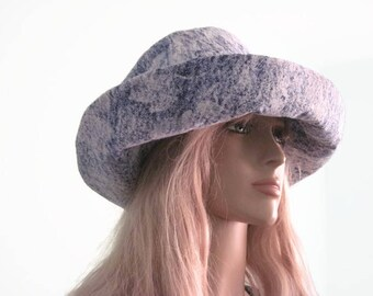 Blue Denim Floral Print Wide Brim Sun Hat Summer Hat Beach Hat