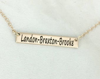 Personalized bar name necklace - Kids name plate necklace - Gold Layering necklace - Bar necklace - Engraved necklace - Name plate necklace