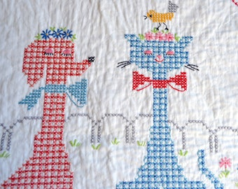Vintage Baby Quilt Blanket - Dog and Cat in Park - Hand Embroidered Heirloom