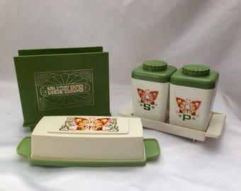 Sterlite Table Set Salt & Pepper Shaker Butter Dish Napkin Holder