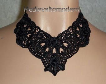 Collar Choker in Jet Black Venise Lacey Lace Flower Gothic Anime Romantic Evening Art Tatoo Neck Wear