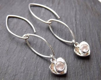 Domed Sterling Silver Heart and Rose Quartz Earrings