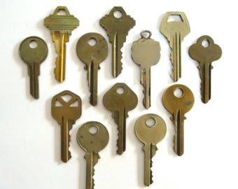 12 Keys Key collection Vintage stamping keys Key bodies DIY Stamping keys House keys Old keys for stamping Blank keys Blank side A1 #12