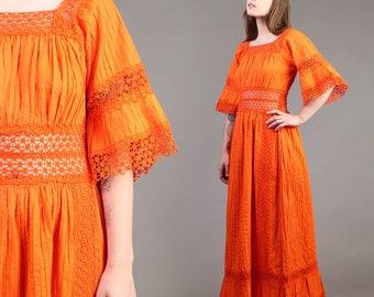 vintage ORANGE empire BELL SLEEVE crochet lace mexican hippie boho sun maxi dress 70s 1970s small S