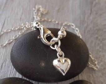 Silver heart anklet sterling silver heart ankle bracelet delicate puffed heart silver anklet