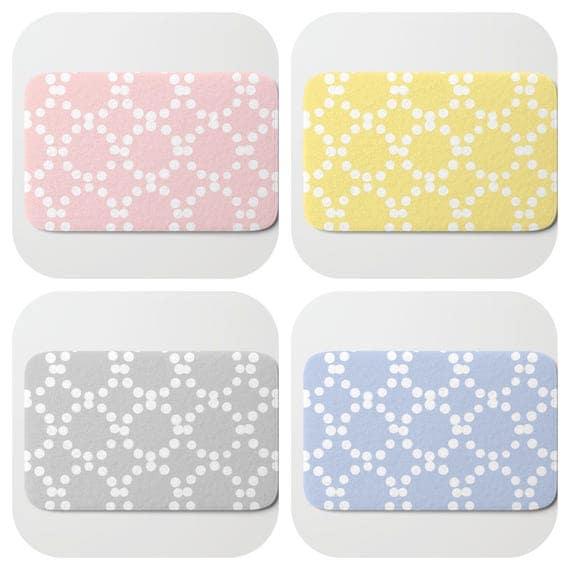 Bath Mat - Blush Pink Bath Mat - Gray Bath Mat - Bath Rug - Yellow Shower Mat - Ring dot Rug - Periwinkle Blue Rug - Circle Rug - bath Rug