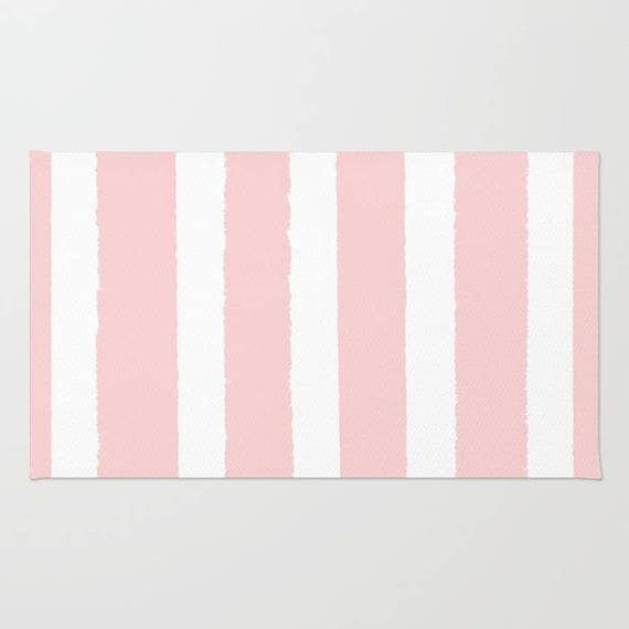 Blush Pink and White striped rug - Area Rug - Throw Rug - Rose Carpet - Accent Rug - Floor Rug - Stripe Rug - 2 x 3 rug - 3 x 5 rug - 4 x 6