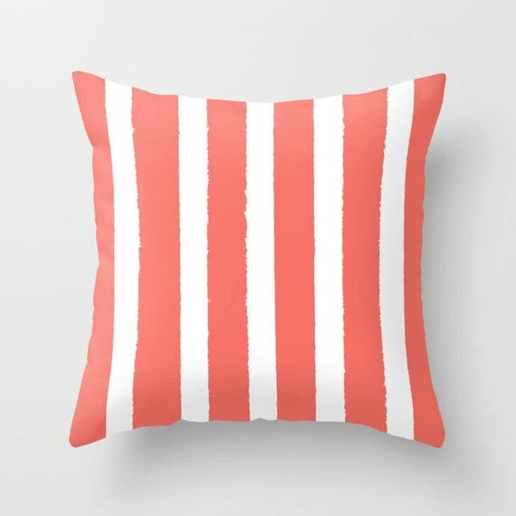 OUTDOOR Throw Pillow - Coral and White Outdoor Pillow - Stripe patio cushion - Modern Pillow - 16 18 20 inch - Salmon Outside Pillow