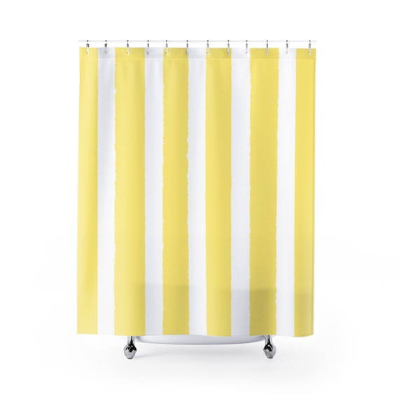 Buttercup Yellow Shower Curtain . Yellow Striped Shower Curtain . Modern Yellow Shower Curtain . Shower Curtain . Yellow Striped Curtain