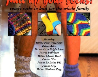 Pull Up Your Socks Comfy Knits Whole Family Ankle Calf Stripes Texture Intarsia Flowers Knit Two Four Needle Craft Pattern Leaflet GG-590