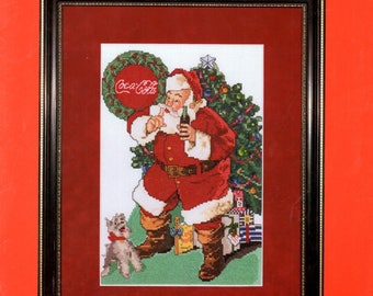 Coca Cola Santa Claus 1 When Friends Drop In Dog Bow Presents Under Christmas Tree Counted Cross Stitch Embroidery Craft Pattern Leaflet 357