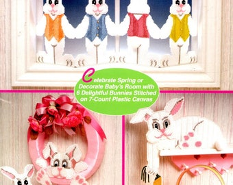 Cottontail Cuties 4 Rabbits Row Basket Wreath Box Air Freshener Cover Plastic Canvas Needlepoint Embroidery Craft Pattern Leaflet 933108