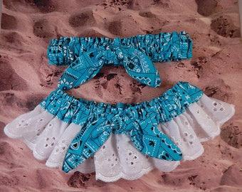 Turquoise Blue Bandana Paisley Tied Knot White Eyelet Lace Wedding Garter Toss Set