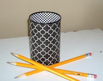 Cute Desk Accessories in Your Choice of Color / Black and White Quatrefoil Pencil Holder / Desk Organizer / Dorm Decor / Office Decor - 986