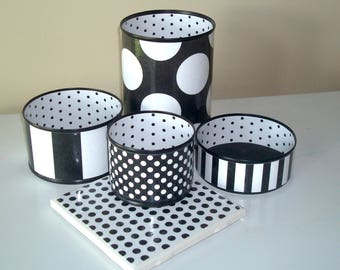 Black and White Geometric and Damask Desk Accessories / Stripes Polka Dots Pencil Holder / Pencil Cup / Desk Organizer / Office Decor - 1018