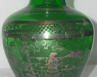 Art Nouveau Green Glass Vase with Silver Overlay