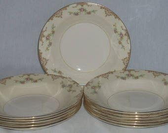 Homer Laughlin Eggshell Nautilus Aristocrat Low Soup Bowls x6