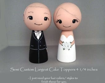 Largest  4 1/4 inch Semi Custom Wedding Cake Toppers