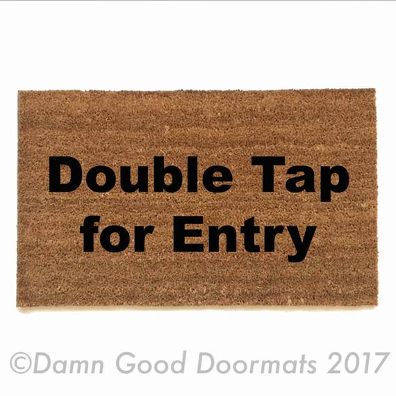 Items similar to double tap for entry doormat geek nerd outdoor eco friendly home on etsy - Geeky doormats ...