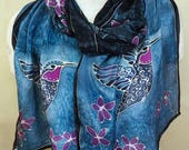 Hummingbird on Blue with Magenta -  Hand Painted Silk Scarf - Large Silk Scarf 14x72 inches - one of a kind wearable art